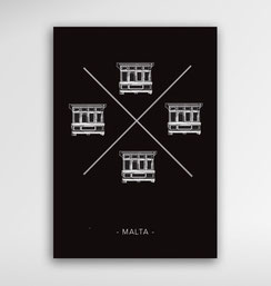 Malta Souvenirs Gifts Postcard Balcony Cross
