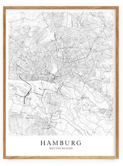 Skandinavische Poster - Hamburg Karte