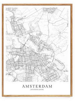 Amsterdam Karte Poster im skandinavischen Stil