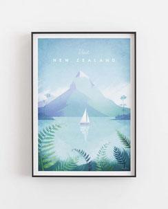 Schöne Orte Neuseeland Poster im skandinavischen Stil