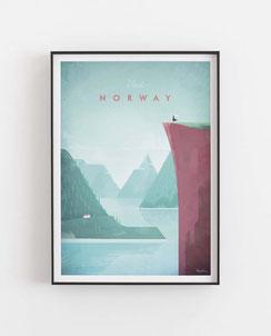 Schöne Orte Norwegen Poster im skandinavischen Stil