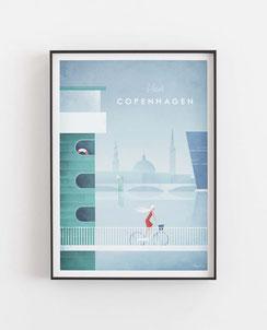 Schöne Orte Kopenhagen Poster im skandinavischen Stil