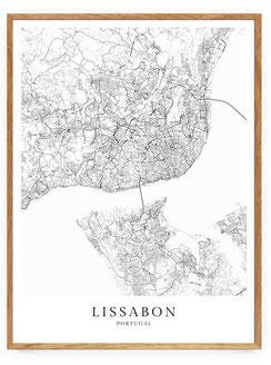 Lissabon Poster im skandinavischen Stil Karte
