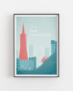 Schöne Orte San Francisco Poster im skandinavischen Stil