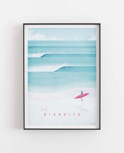 Schöne Orte Biarritz Poster im skandinavischen Stil