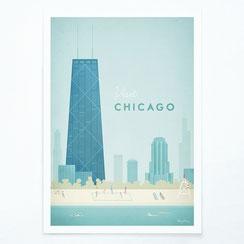 Schöne Orte Chicago Poster im skandinavischen Stil
