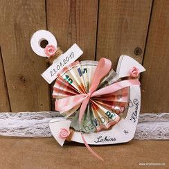 Geldgeschenk Hochzeit maritim Anker aus Holz mit Namen