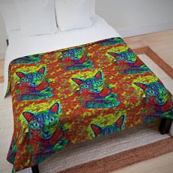Cat colorful Tagesdecke, Bettwäsche und Fleecedecke