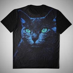 Blue Cat on Black Grafikshirt