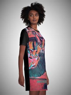 T-Shirt-Kleid Cat-Art