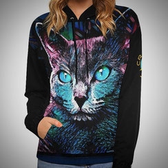 Funny Cat Multicolor Hoodie