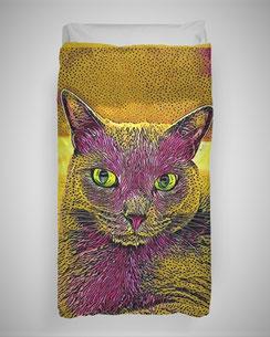 Bettbezug Cat Yellow-Pink
