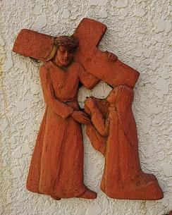 第6留 ヴェロニカ、イエスのみ顔を拭う