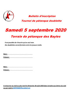 AG 2020 : inscription pétanque