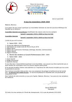 AG 2020 : Convocation Assemblée Générale 2020