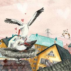 Storch, Storchenpaar, Kindergeschichte, Illustration, Zugvogel