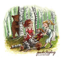 Märchen, Schneeweißchen und Rosenrot, Gebrüdergrimm, Zwerg, Bär
