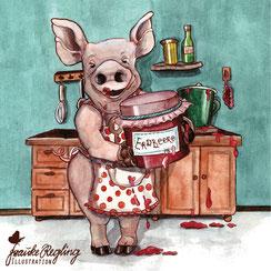 Schwein, Marmelade, Kochen, Küche, Retro, Nostalgie, Ostalgie, Topf, Schürze, Schweinerei