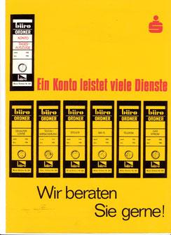 Sparkasse - Ein Konto leistet viele Dienste. Wir beraten Sie gerne (Plakat 86x63 cm von 1967).
