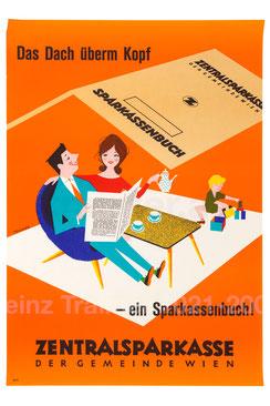 Familie mit Sparkassenbuch als Haus. Das Dach überm Kopf - Sparkassenbuch. Zentralsparkasse 1960.