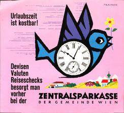 Urlaubszeit ist kostbar. Devisen, Valuten, Reischecks besorgt man vorher bei der Zentralsparkasse der Gemeinde Wien. Heinz Traimer um 1962.