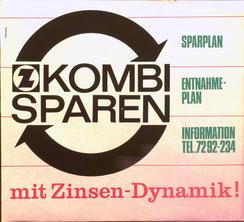 Z kombisparen. Sparplan, Entnahmeplan mit Zinsen-Dynamik! (Plakat Zentralsparkasse 37 x 32 cm um 1962).