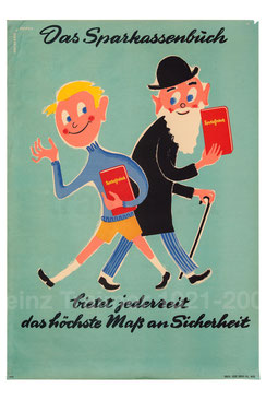 Sparkassenbuch Werbung um 1956. Sparkassenplakat.