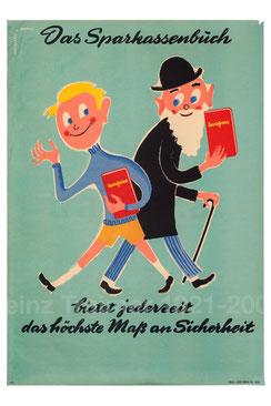 Junger und alter Mann mit Sparkassenbuch. Poster von heinz traimer. Sparerziehung 1950er Jahre.