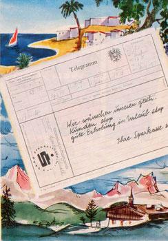 Sparkassenplakat 1960. Wir wünschen unseren gesch. Kunden stop... gute Erholung im Urlaub stop. Sparkasse. (Plakat 83x60).