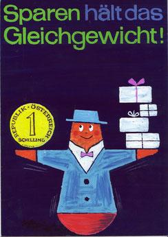 Sparen hält das Gleichgewicht! (Waage) (Plakat Entwurf Din A4 für die Sparkasse um 1960).