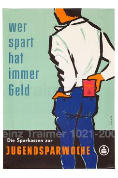 Jugendlicher mit Sparkassenbuch. Poster Weltspartag (Plakat Österreich um 1958).