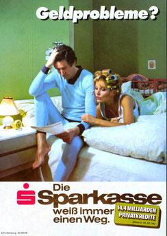 Geldprobleme? Die Sparkasse weiß immer einen Weg (Privatkredit) (Plakat 84 x 60 cm um 1977).