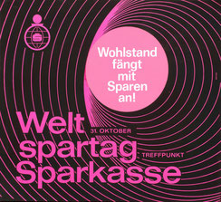 Sparkassenplakat: Wohlstand fängt mit Sparen an! Strassenbahn-Plakat zum Weltspartag 1965.
