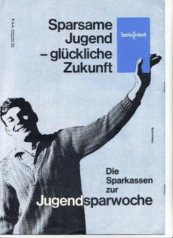 Jugendliche und Geld. Österreichisches Poster der Sparkasse von 1958.