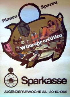 Weltspartag 1969. Sparschwein mit Jugendlicher. Werbung der Sparkasse von Heinz Traimer.