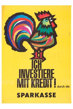 kreditwerbung der Sparkassen Poster 1965. (Krähender Hahn).