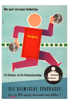 Sparkassenbuch - wer spart, hat immer Geldbeträge. Plakat 1958.