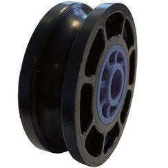 Seilrolle Ø 50 mm für Seile bis Ø 8 mm aus Kunststoff mit Gleitlagereinsätzen