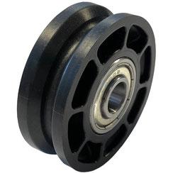 Seilrolle Ø 50 mm für Seile bis Ø 4 mm aus Kunststoff mit doppeltem Kugellager