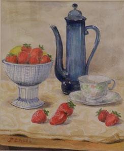 テーブルの苺 水彩 8号