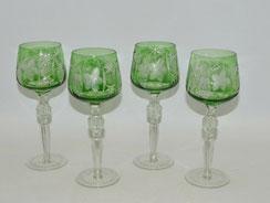 4x Kristallglas,Römer, grün überfangen, Blumenschliff, Palmettenschliff, 21,0 cm, € 100,00