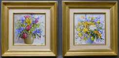 Zwei Blumenstillleben,Öl auf Malerkarton, England, Derek Brown, 20. Jahrundert , € 700,00