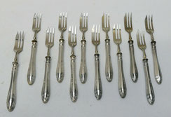 12er Satz Dessertgabel, 835er Silber, Lutz & Weiss, 16,5 cm,, € 200,00