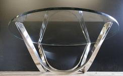 Glas Coffeetable,Roger Sprunger, für Dunbar USA ,70er Jahre, Ø 110 cm,Couchtisch , € 1200,00