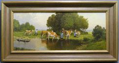Hans Heinrich Koch,Mitte 20.Jhd.,Öl auf Platte,Kühe beim Viehtrieb,19,5x44,5 cm , € 450,00