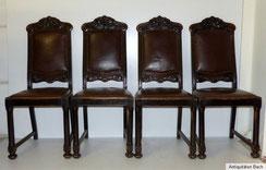 4 x schwere Eichenstühle ca. 1910, Historismus Lederpolster, € 600,00