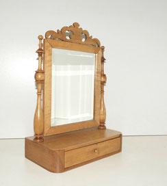 Biedermeier Schminkspiegel, massiv Birke, Psyche, Schublade, 46,5 cm, € 320,00