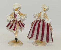 """Ein Paar Rokokofiguren, Murano Glas, """"Emmegi"""" Italy, Goldeinschlüsse, 22,0 cm, € 350,00"""