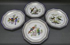 4er Satz Sammelteller,Porzellan,Vogel Motive, Goldstaffiert, Thüringen, , € 135,00