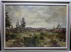 Louis Addicks, Öl auf Leinwand,Norddeutsche Heidelandschaft,Schafe mit Schäferin , € 680,00